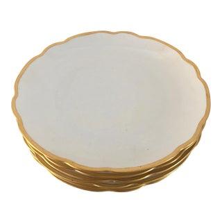Vintage M.Z. Austria Lusterware Scallop Gilded Edge Salad Plates - Set of 6