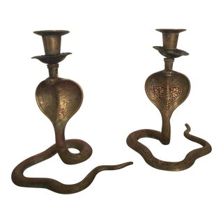 Brass Slithering Cobra Candleholders - A Pair