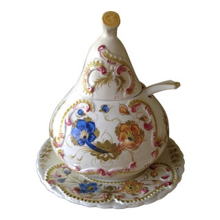Italian Floral Ceramic Soup Tureen