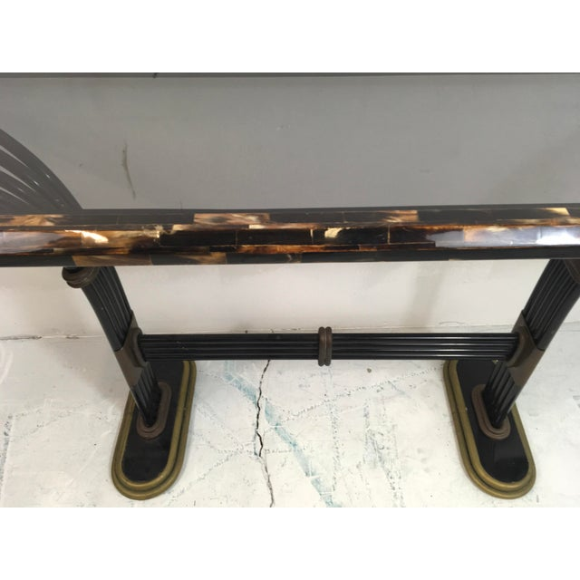 Maitland Smith Horn & Brass Console Table - Image 6 of 8
