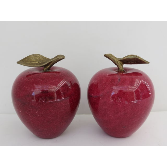Marble Apple Paperweights- A Pair - Image 2 of 5