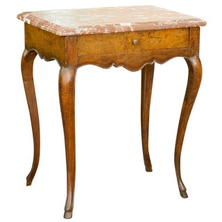 French Louis XV Style Side Table with Red Marble Top and Single Drawer