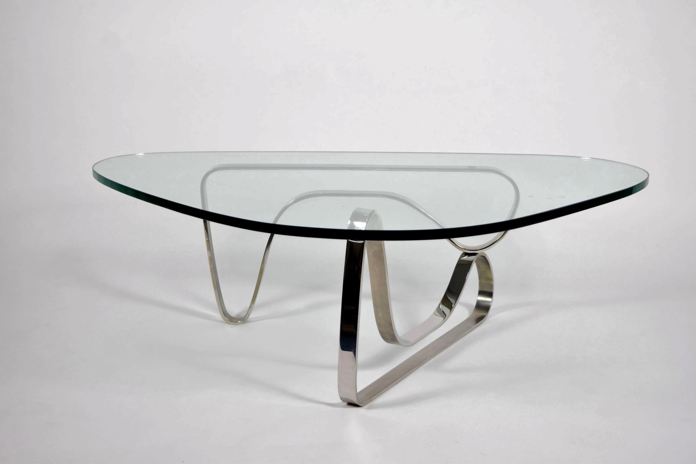 Noguchi Style Coffee Table With Stainless Steel Base   Image 2 Of 7
