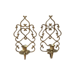 Vintage Brass Candle Wall Scones