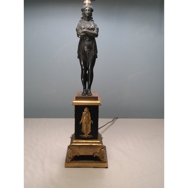 Neoclassical Bronze & Gilt Bronze Candlestick Lamp - Image 4 of 6