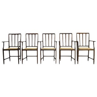 Slat Back Caned Dining Chairs - Set of 5