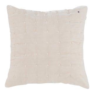 Cream Embroidered Silk Velvet Pillow