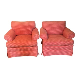 Beacon Hill Pink Upholstered Club Chairs - a Pair