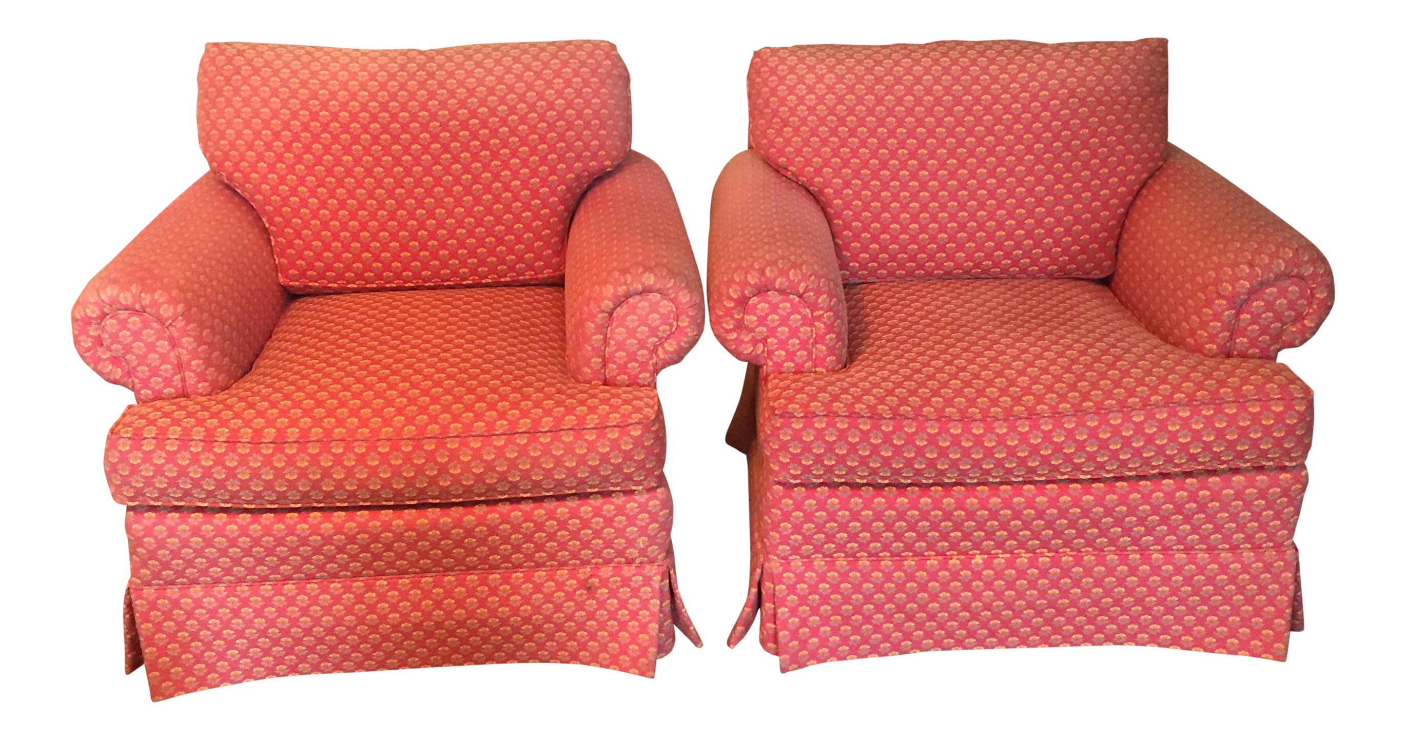 Beacon Hill Pink Upholstered Club Chairs   A Pair
