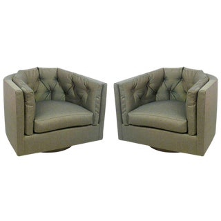 Pair of Tufted Barrel Back Swivel Chairs