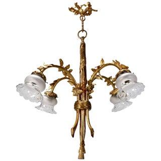 Art Nouveau French Gilded Bronze Four Light Pendant Chandelier