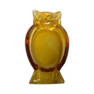 Viking Blenko Owl Glass Bowl Ashtray Dish