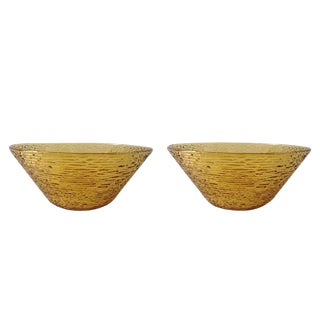 Bamboo-Style Amber Salad Serving Bowls - a Pair