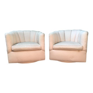 Milo Baughman Scalloped Back Swivel Club Chairs - A Pair