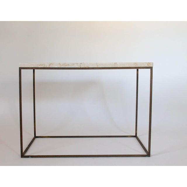 Rectangular Brass & Travertine Table - Image 3 of 11