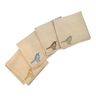 Vintage Bird Cotton Napkins - S/4