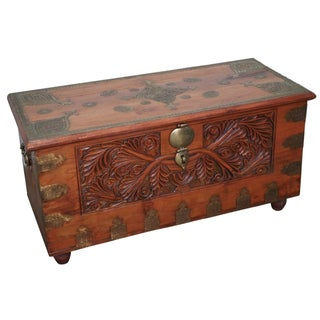 Vintage Anglo Indian Carved Dower Blanket Chest