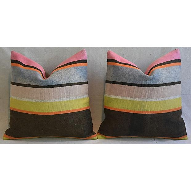 Custom Tailored Anatolian Turkish Kilim Wool Feather/Down Pillows - A Pair - Image 5 of 11