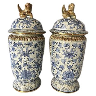 Blue and White Foo Dog Ginger Jars