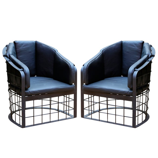 wrought iron grid lounge chair a pair chairish. Black Bedroom Furniture Sets. Home Design Ideas