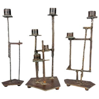 Paul Evans Style Brutalist Candlesticks - Set of 3