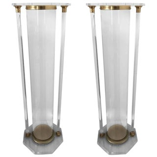 Mid-Century Modern Brass and Lucite Pedestals - A Pair