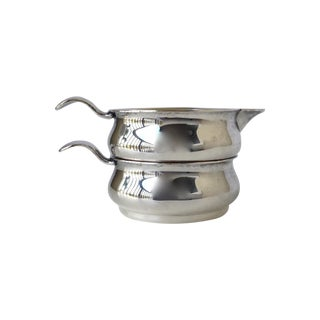 Silverplate Stacked Portable Creamer & Sugar Set