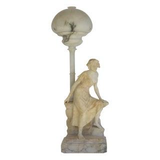 Carved Alabaster Figural Lamp
