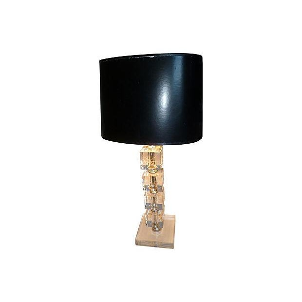 1960s stacked crystal block lamp chairish. Black Bedroom Furniture Sets. Home Design Ideas
