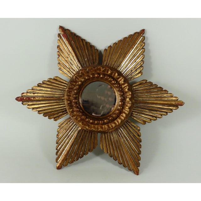 Sunburst Star Gilded & Silver Wood Mirror - Image 2 of 6