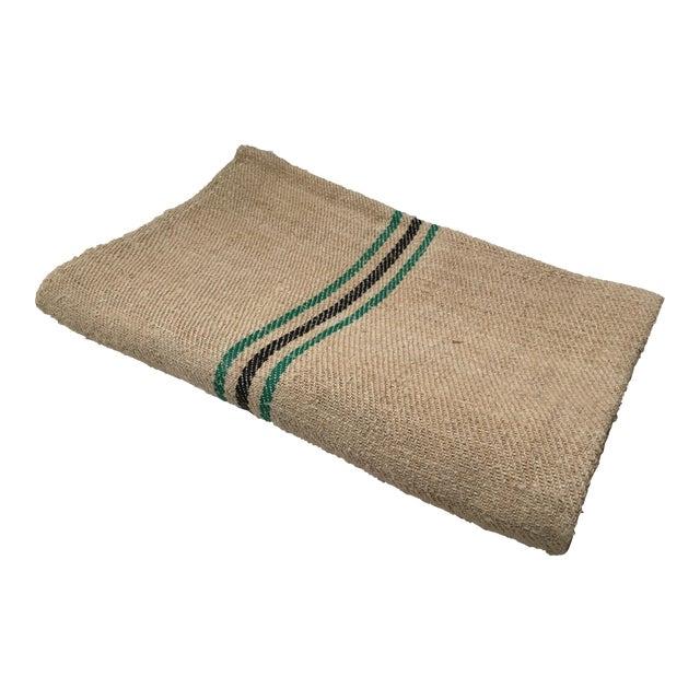 Vintage Green Stripe European Grain Sack - Image 1 of 7