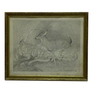 "Original Framed Print ""Running Deer"" by Charles Beckendorf, 1968"