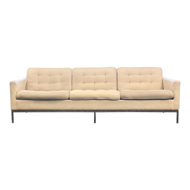 Mid-Century Modern Florence Knoll Cream Colored Wool and Chrome Three Seat Sofa - Image 1 of 7