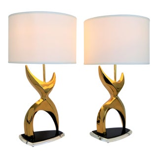 Vintage Solid Brass Abstract Figural Table Lamps after Phillipe Jean
