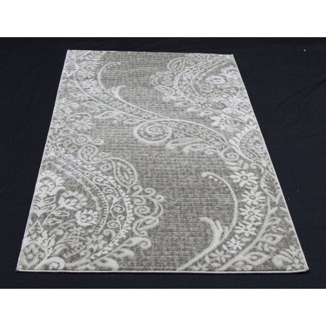Contemporary Gray Damask Rug- 2′8″ × 5′ - Image 2 of 3