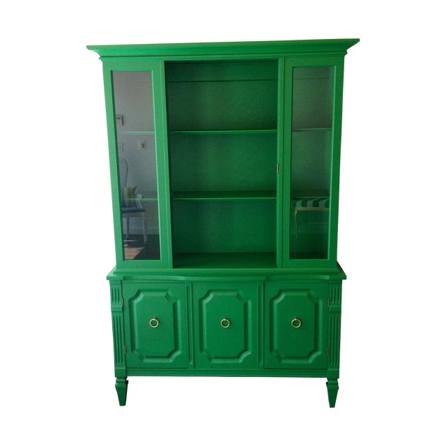Painted Kelly Green China Hutch - Image 1 of 5