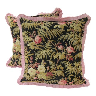 19th C. French Fabric Pillows - A Pair