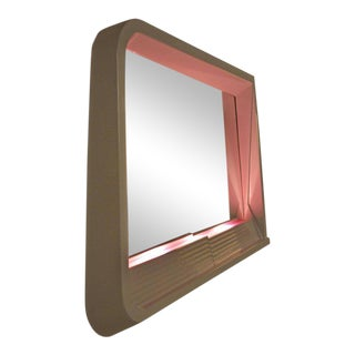 Memphis Style Neo Deco White and Pink Light Up Mirror