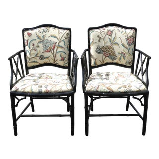 Vintage Chinese Chippendale Bamboo Style White Floral Accent Chairs - a Pair W Suzani Fabric