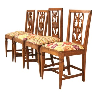 19th C. Rustic American Fruitwood William & Mary Style Side Chairs - Set of 4