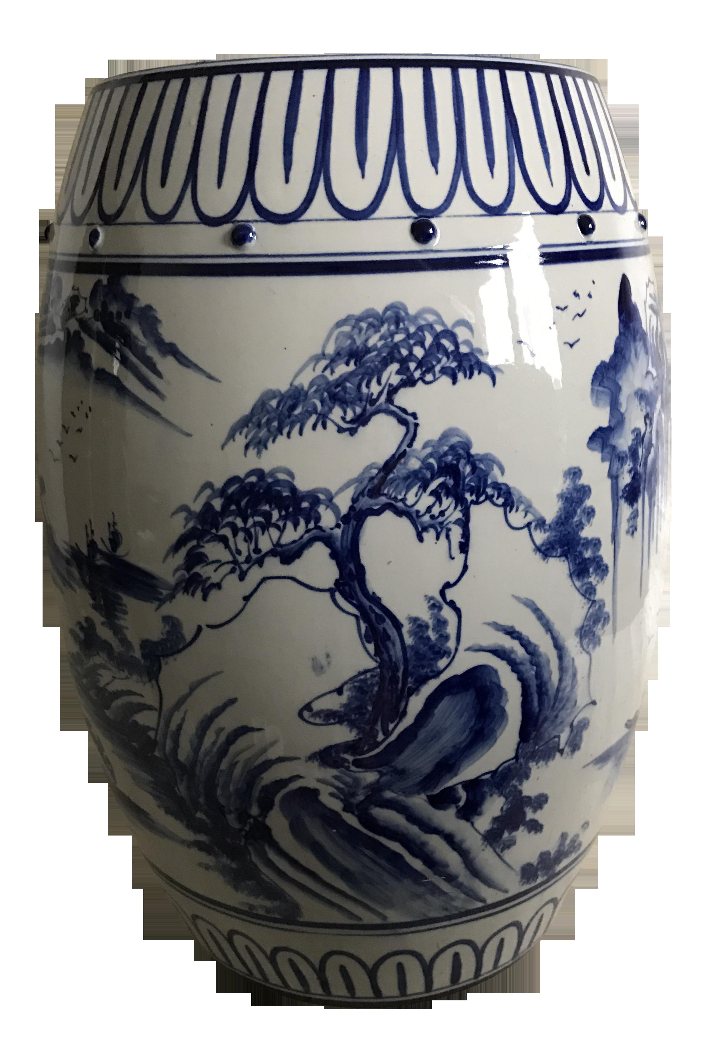 Antique Chinoiserie Ceramic Garden Stool