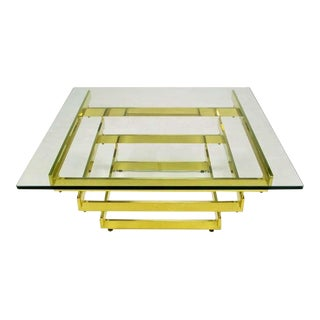 Architectural Stacked Solid Brass Bar & Glass Coffee Table