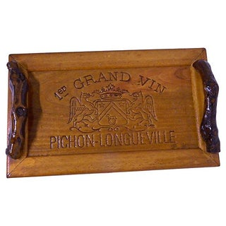 Vintage Handcrafted Vintner's Tray With Grapevine
