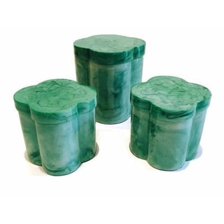 Green Clover Vanity Boxes - Set of 3