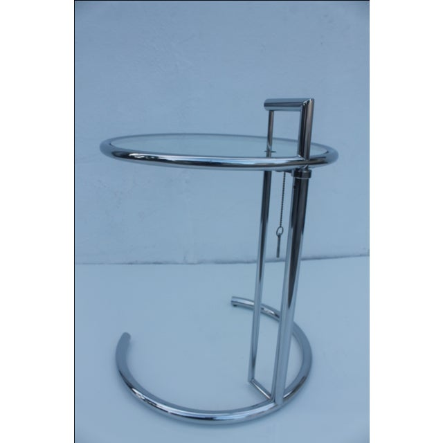 eileen gray glass chrome adjustable side table chairish. Black Bedroom Furniture Sets. Home Design Ideas