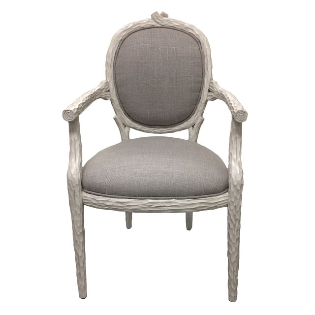 White Faux-Bois Armchairs - A Pair - Image 2 of 5