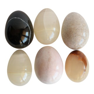 Natural Stone Carved Eggs - Set of 6