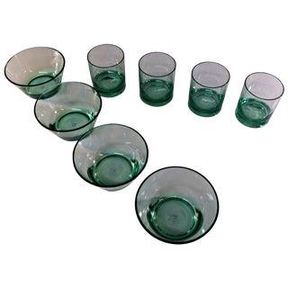 Retro Style Acrylic Green Glassware Set
