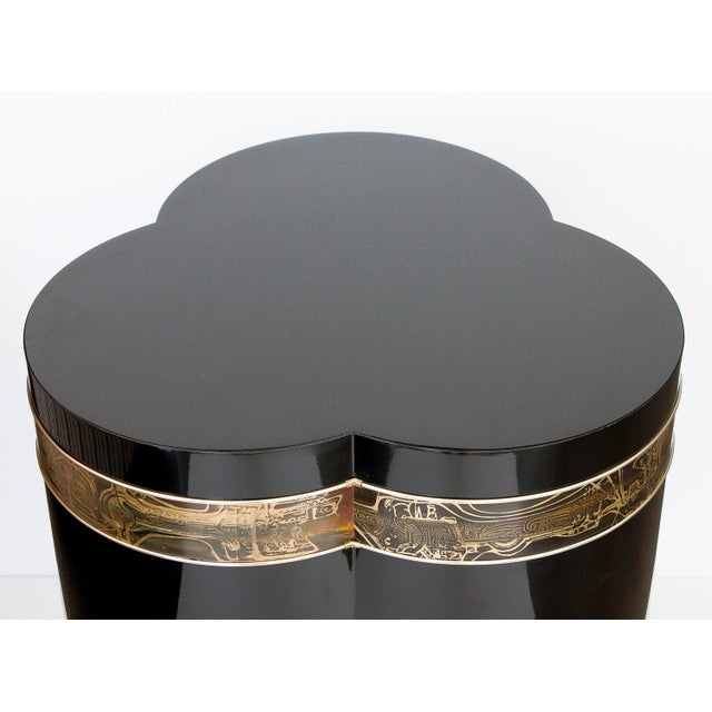 Bernhard Rohne Black Lacquer Brass Pedestal Dining Table - Image 8 of 9