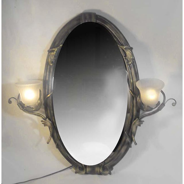 Vintage Cast Iron Dual Light Sconces Wall Mirror - Image 3 of 6